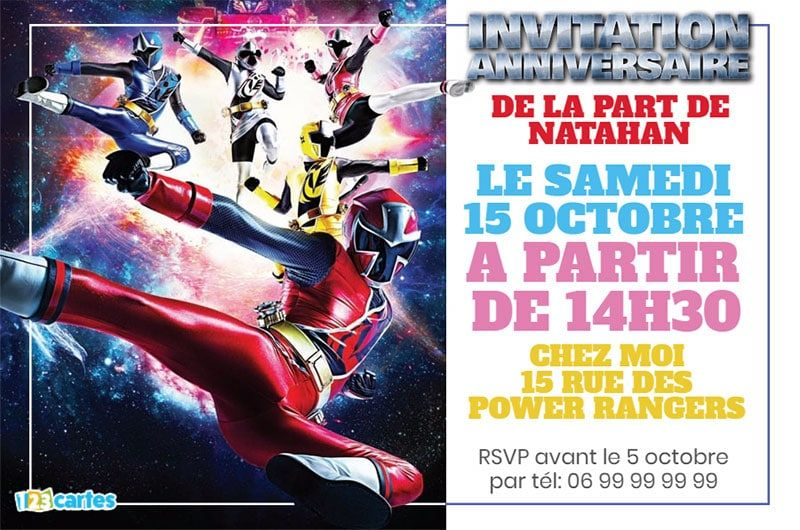 invitation anniversaire power rangers ninja steel