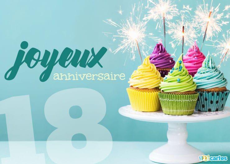 carte anniversaire 18 ans cupcakes multicolores avec des cierges magiques