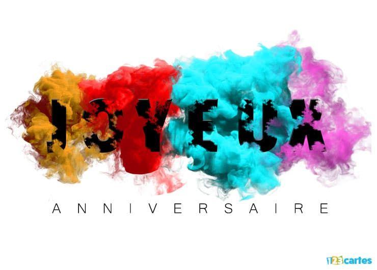 carte anniversaire avec un effet de brume multicolore
