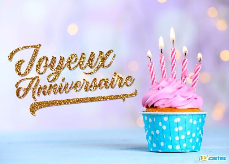 carte anniversaire sucrerie de luxe cake et texte style or