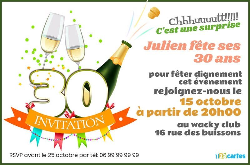 invitation anniversaire 30 ans champagne 123cartes. Black Bedroom Furniture Sets. Home Design Ideas
