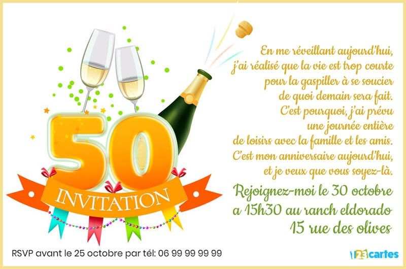 invitation anniversaire 50 ans champagne 123cartes. Black Bedroom Furniture Sets. Home Design Ideas