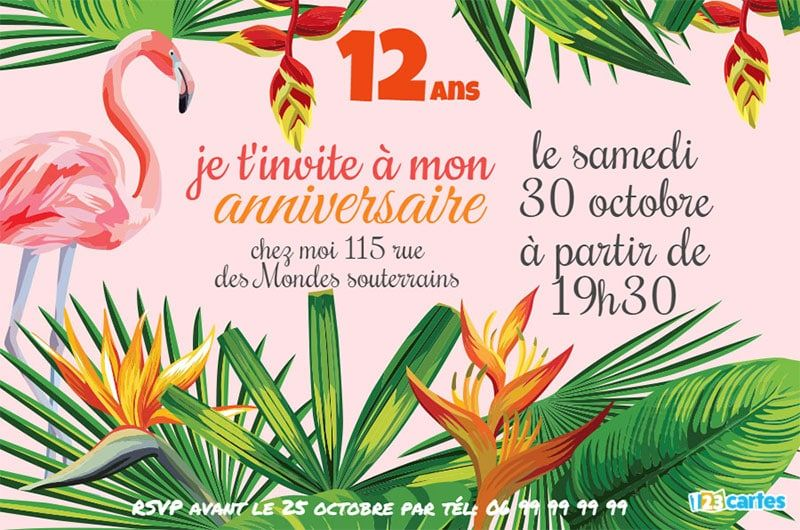 invitation anniversaire flamant rose