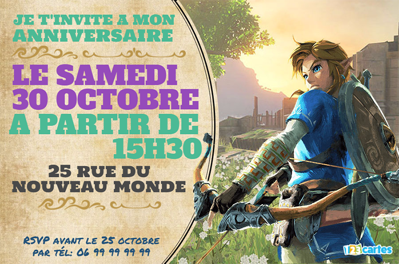 invitation anniversaire Zelda breath of the wild