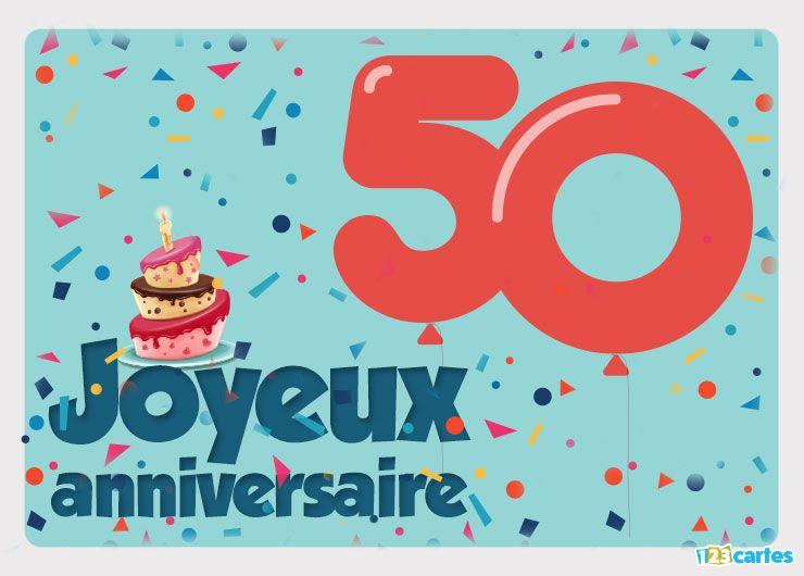carte anniversaire chiffre 50 avec des ballons et des confettis