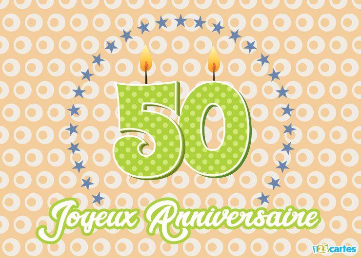le chiffre 50 en forme de bougies entouré d'étoiles
