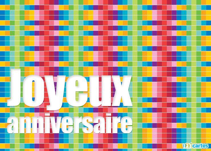 carte joyeux anniversaire arc-en-ciel de pixels