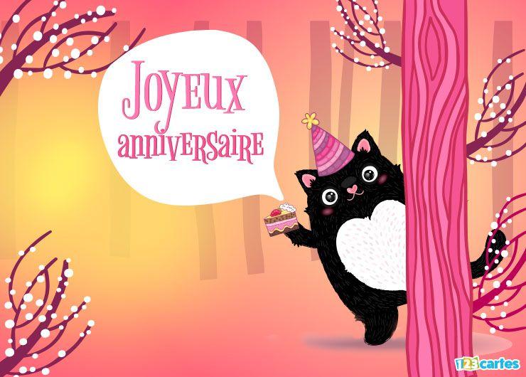 carte anniversaire chat noir mignon dans la forêt magique