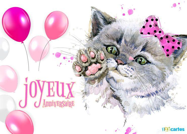 carte joyeux anniversaire chaton au nœud papillon rose