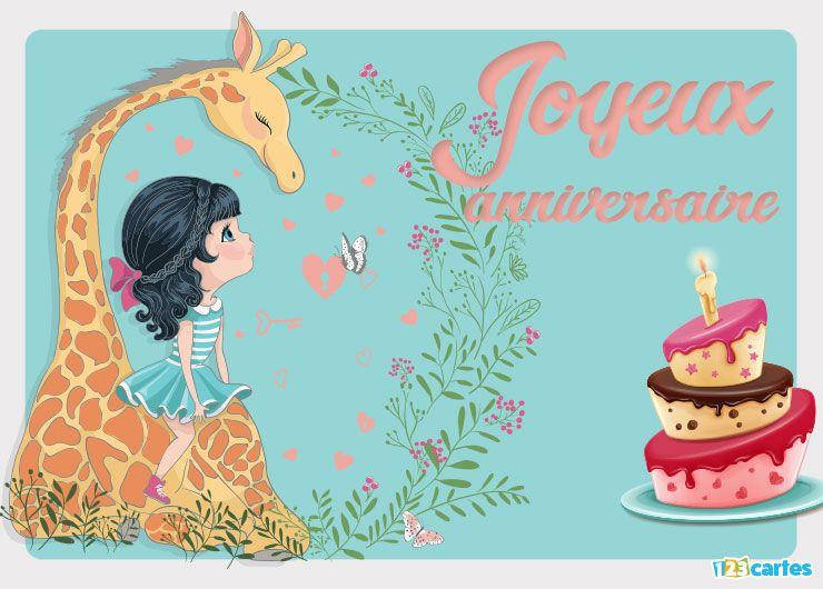 Carte anniversaire la petite fille et la girafe