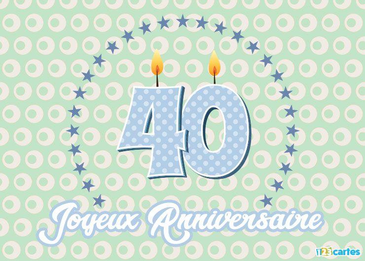 carte joyeux anniversaire 40 ans cercle d'étoiles
