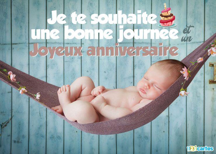 carte anniversaire bébé se relaxe sur un hamac