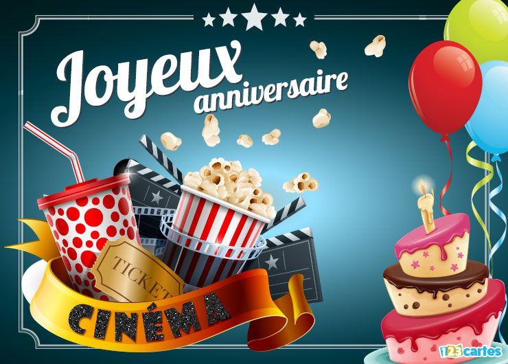 carte anniversaire cinéma ticket popcorn et limonade