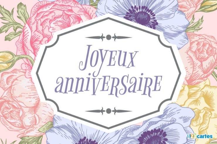 carte anniversaire étiquette rétro sur bouquet de fleurs