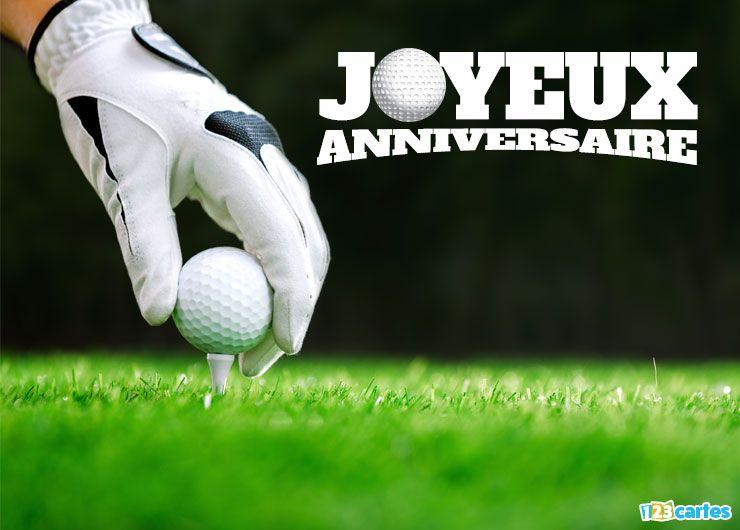 carte anniversaire golf une main pose la balle sur le tee