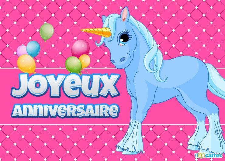 carte anniversaire licorne bleue sur fond rose