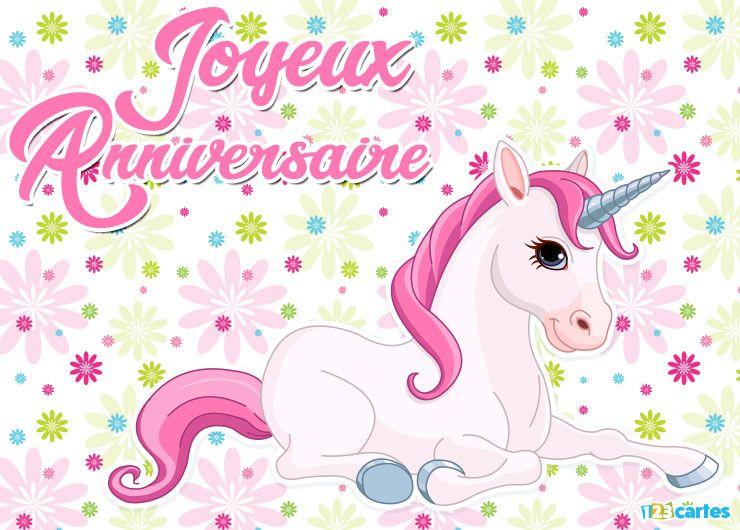 carte joyeux anniversaire licorne crinière rose sur fond de fleurs