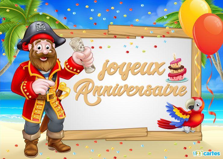 carte joyeux anniversaire le pirate et le perroquet