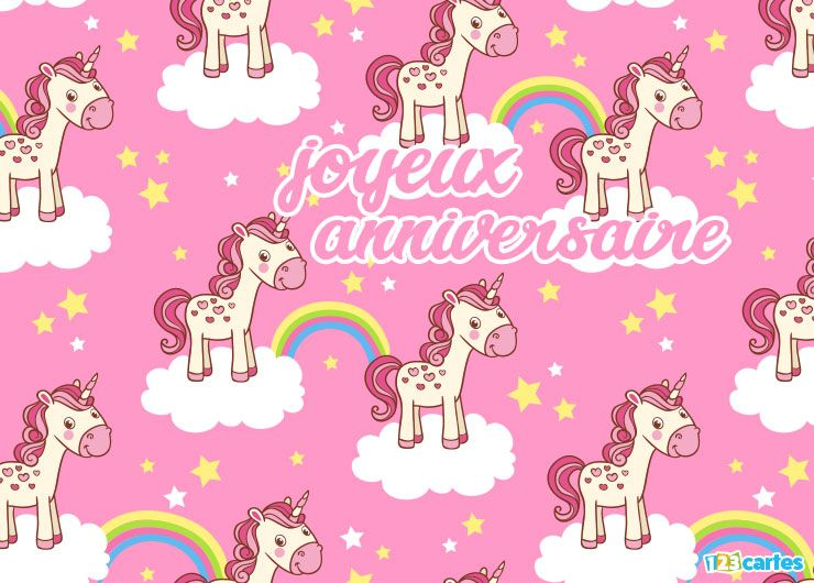 carte joyeux anniversaire je rêve de licornes motif de licornes avec arc-en-ciel sur fond rose