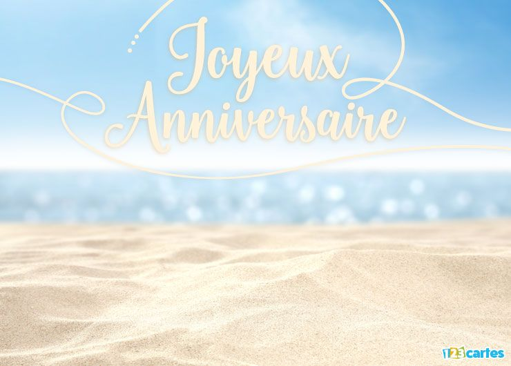 carte joyeux anniversaire vue sur mer