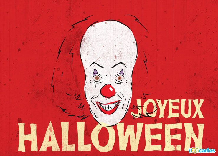 carte joyeux Halloween clown