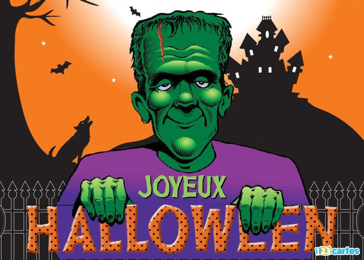 carte joyeux Halloween monstre de Frankenstein
