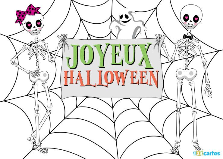 Carte Halloween squelettes chics