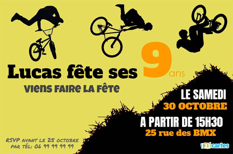 invitation bmx figures freestyle sur fond jaune
