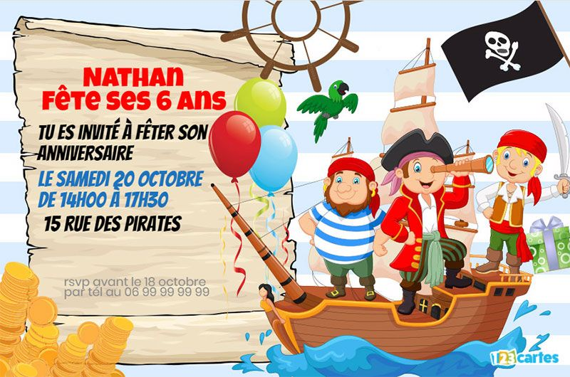 invitation anniversaire pirates à l'abordage