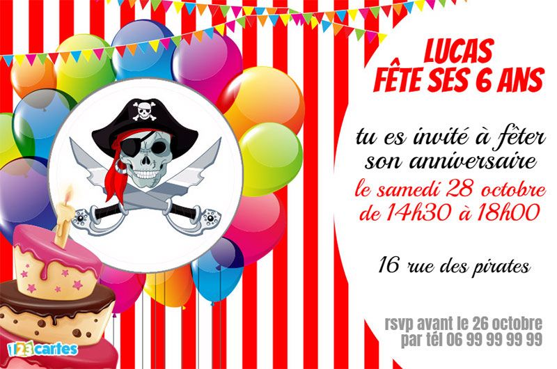 invitation anniversaire les pirates 123 cartes. Black Bedroom Furniture Sets. Home Design Ideas