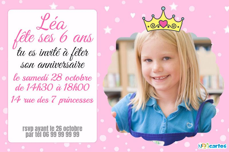 invitation anniversaire princesse photo rose