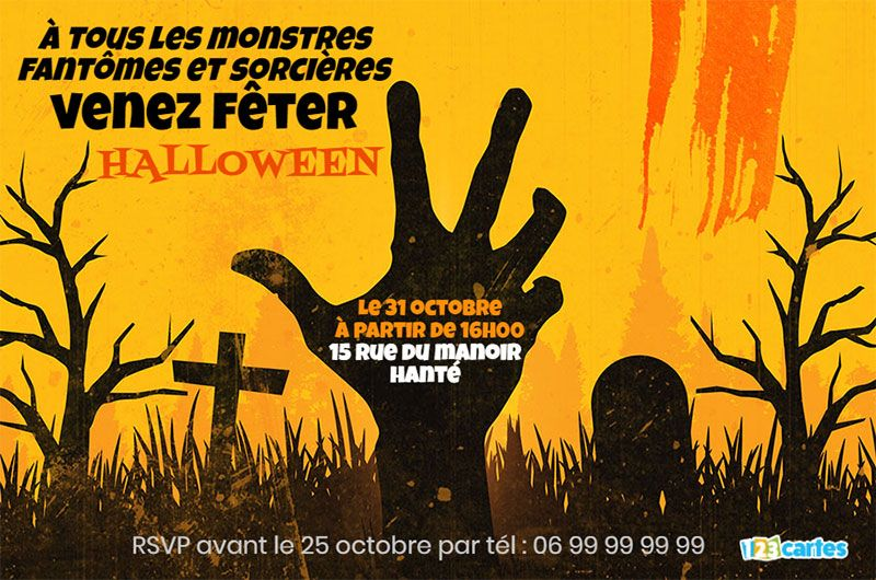 invitation halloween main zombie qui sort de terre