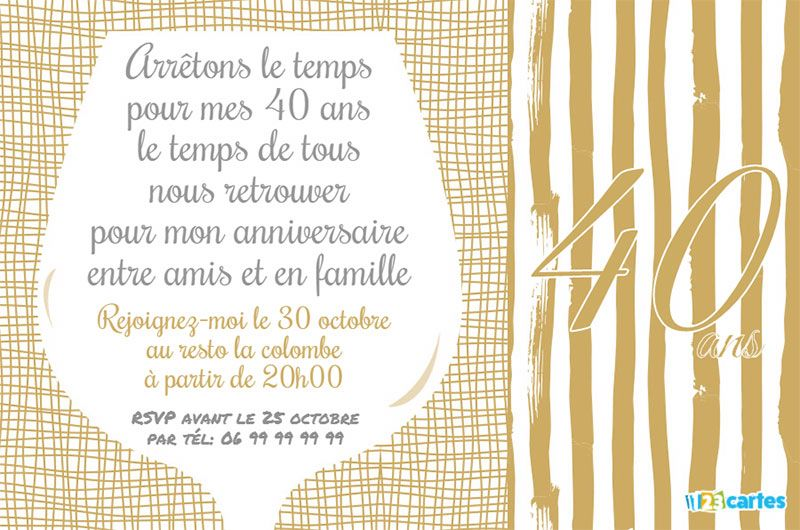 invitation anniversaire 40 ans verre vin 123 cartes. Black Bedroom Furniture Sets. Home Design Ideas