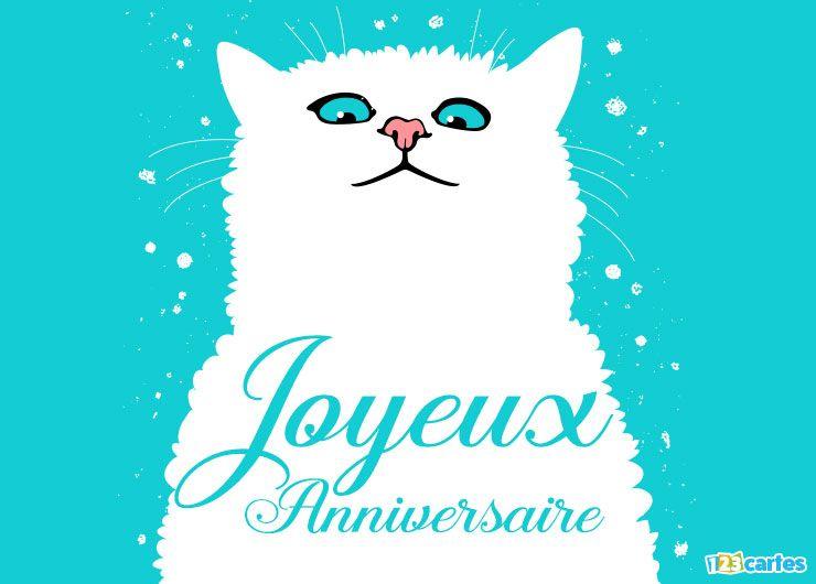 carte joyeux anniversaire mon chaton silhouette de chat blanc