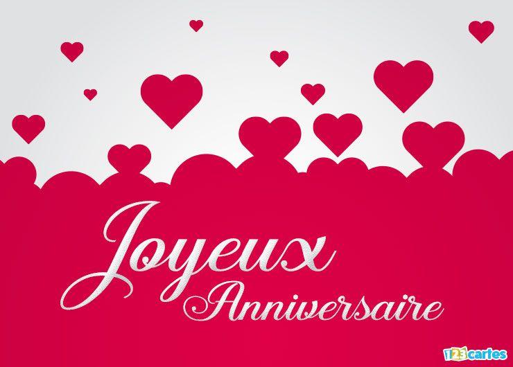 carte joyeux anniversaire océan de coeurs