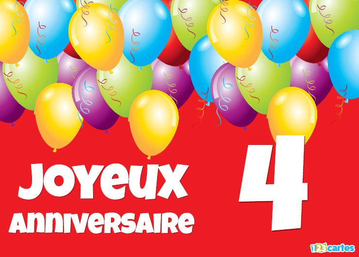carte joyeux anniversaire 4 ans ballons multicolores 123cartes. Black Bedroom Furniture Sets. Home Design Ideas
