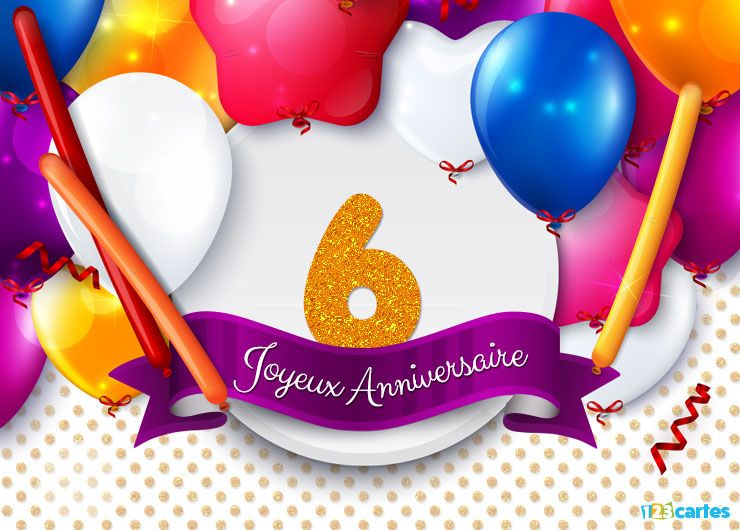 carte anniversaire 6 ans ballons gogo 123 cartes. Black Bedroom Furniture Sets. Home Design Ideas