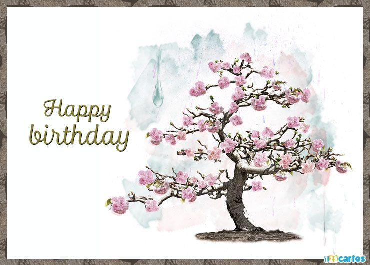 cerisier à fleurs roses avec joyeux anniversaire en Anglais