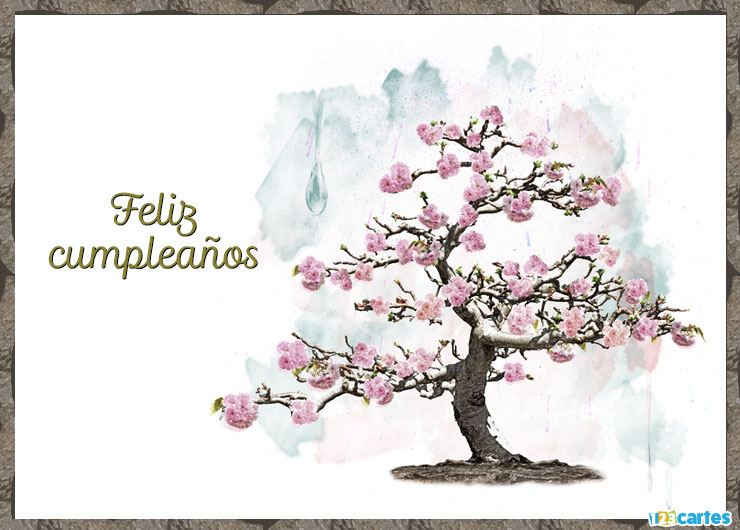 carte anniversaire aquarelle arbre en Espagnol