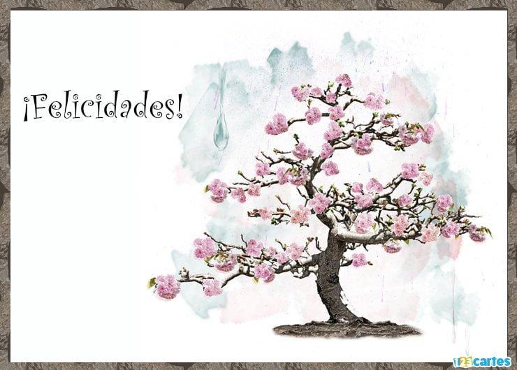 cerisier à fleurs roses avec joyeux anniversaire en Felicidades Espagnol