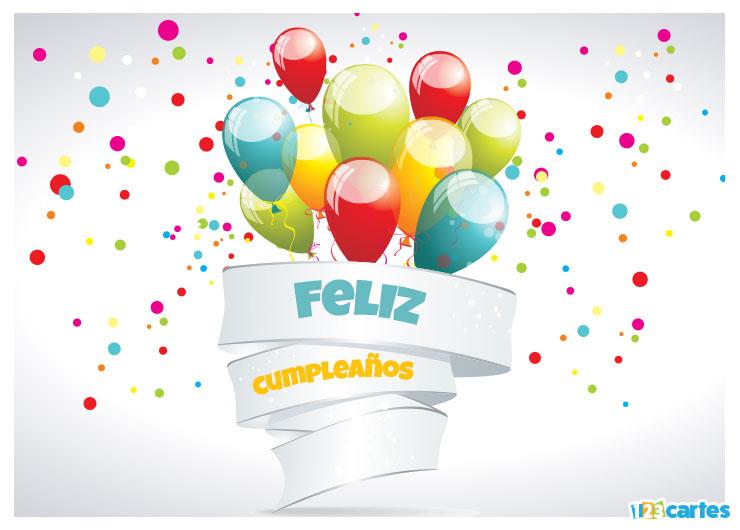 carte joyeux anniversaire bouquet de ballons en Espagnol