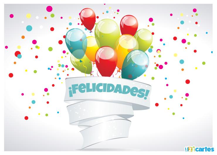 bouquet de ballons gonflables multicolores avec joyeux anniversaire en Felicidades Espagnol