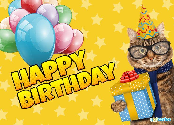 carte joyeux anniversaire chat à lunettes en anglais