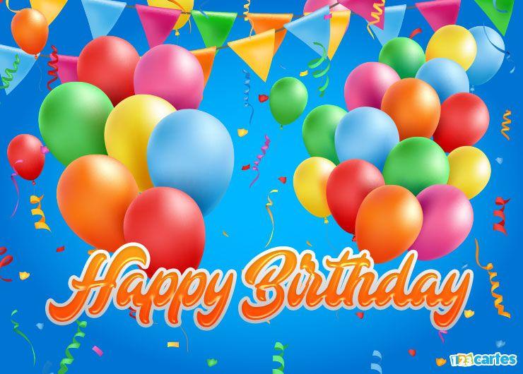 ballons gonflables et fanions de différentes couleurs avec joyeux anniversaire en Anglais