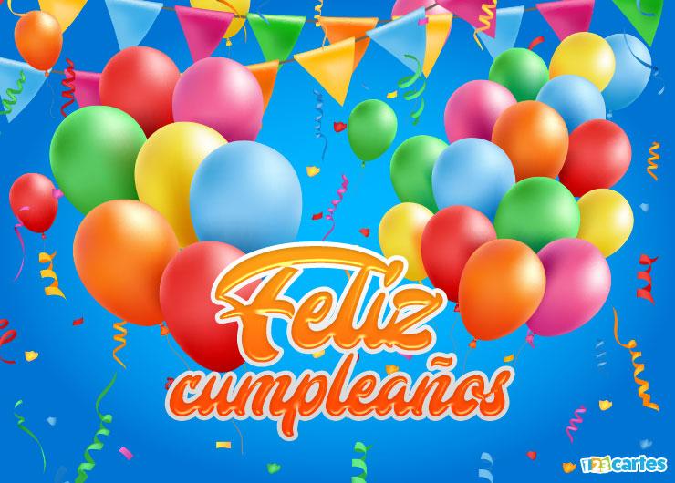 carte joyeux anniversaire couleurs flashy en Espagnol