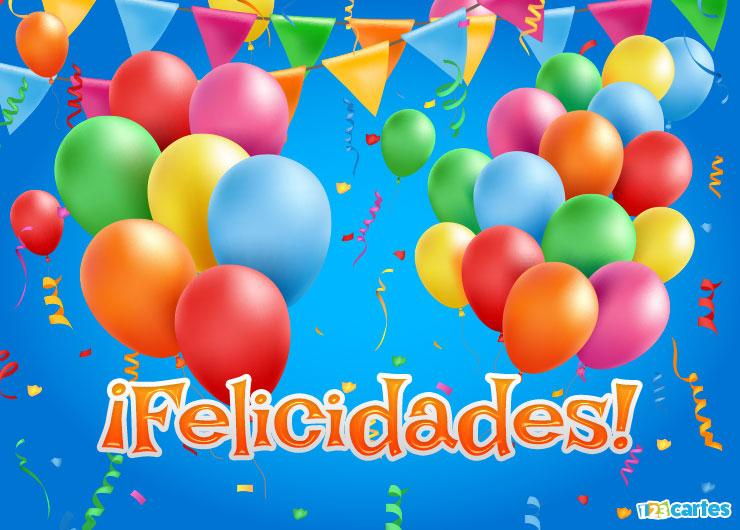 ballons gonflables et fanions de différentes couleurs avec joyeux anniversaire en Felicidades Espagnol