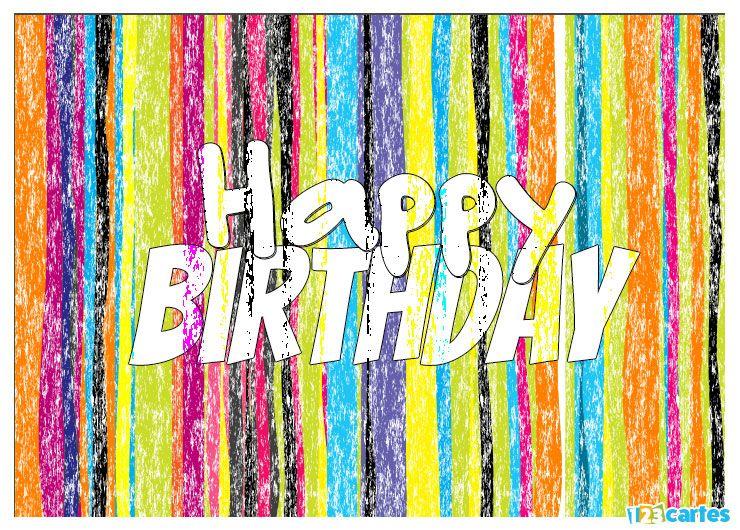 rayures de plusieurs couleurs effet craie avec joyeux anniversaire en Anglais