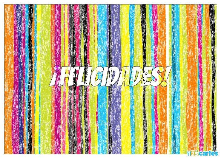 rayures de plusieurs couleurs effet craie avec joyeux anniversaire en Felicidades Espagnol