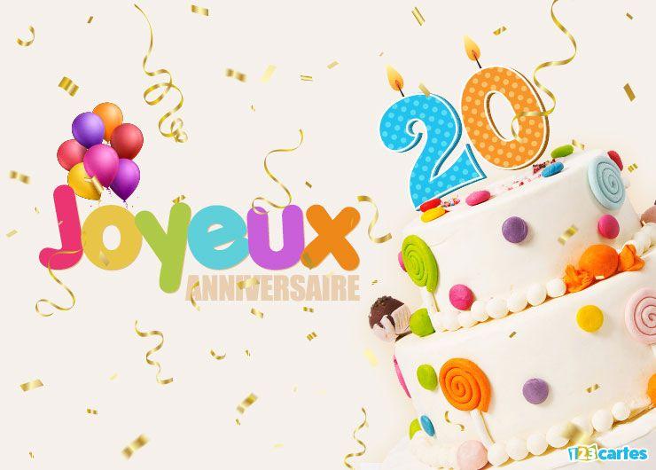 carte joyeux anniversaire 20 ans les grands enfants avec des bougies en forme du chiffre 20