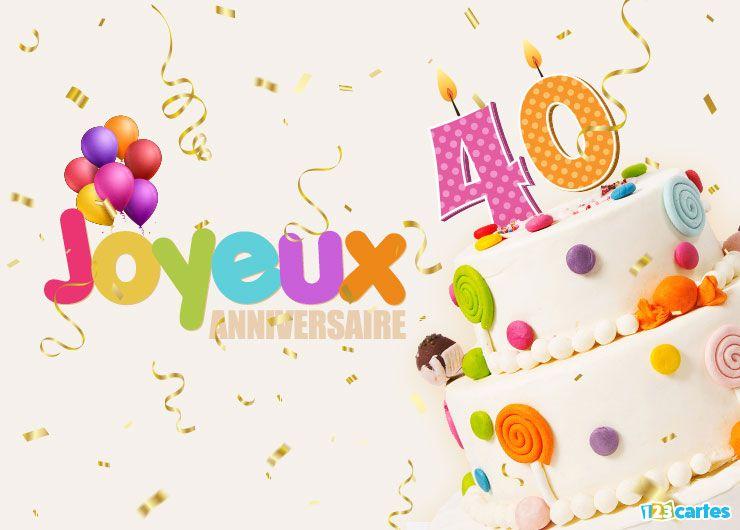 carte joyeux anniversaire 40 ans multicolore avec un gâteau
